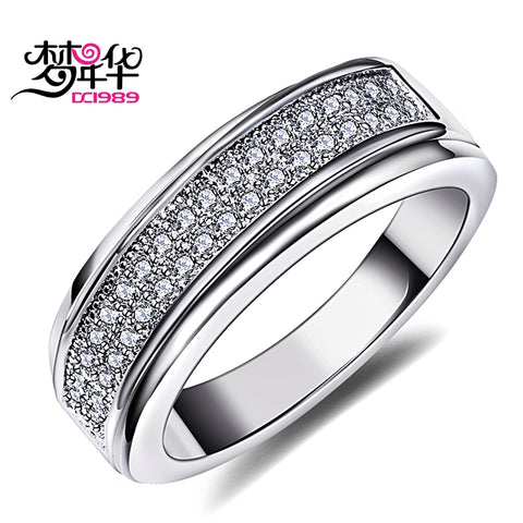 DreamCarnival 1989 Women Wedding Band Ring 2 Tones Gold Color Sparkling CZ Engagement Jewelry Gift Stackable Anillos Mujer Anel