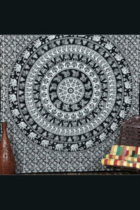 Mandala Blanket- Black and White Elephants