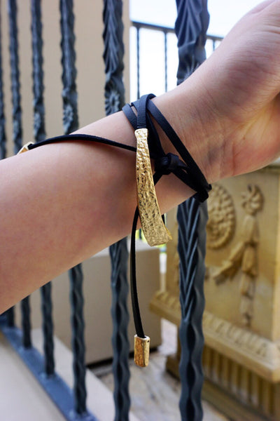 Gold & Leather Wrapped Bracelet