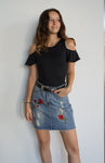"""Rose Garden"" Distressed Denim Skirt"