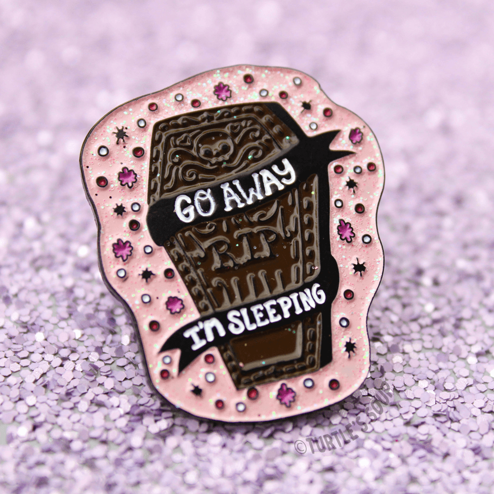 """Go Away"" Enamel Pin"