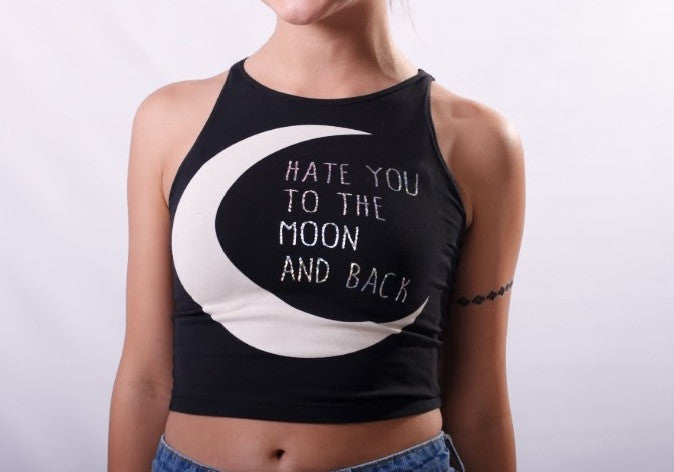 """Hate You To The Moon & Back"" Crop Tank - Shop Lost Generation  - 4"