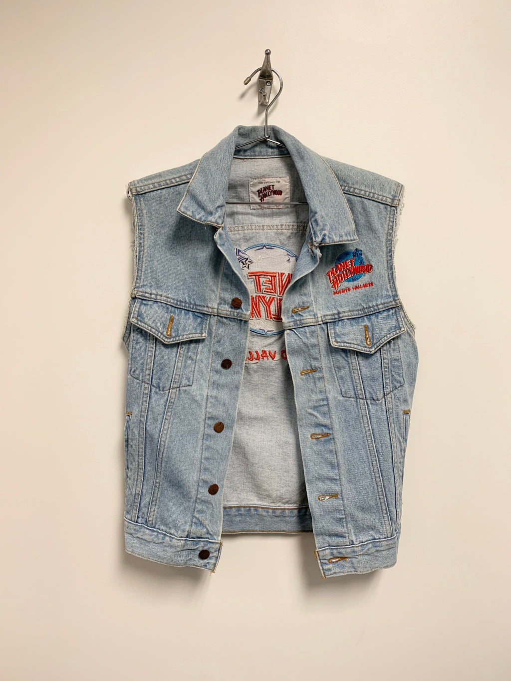 """Planet Hollywood"" Vintage Denim Vest"