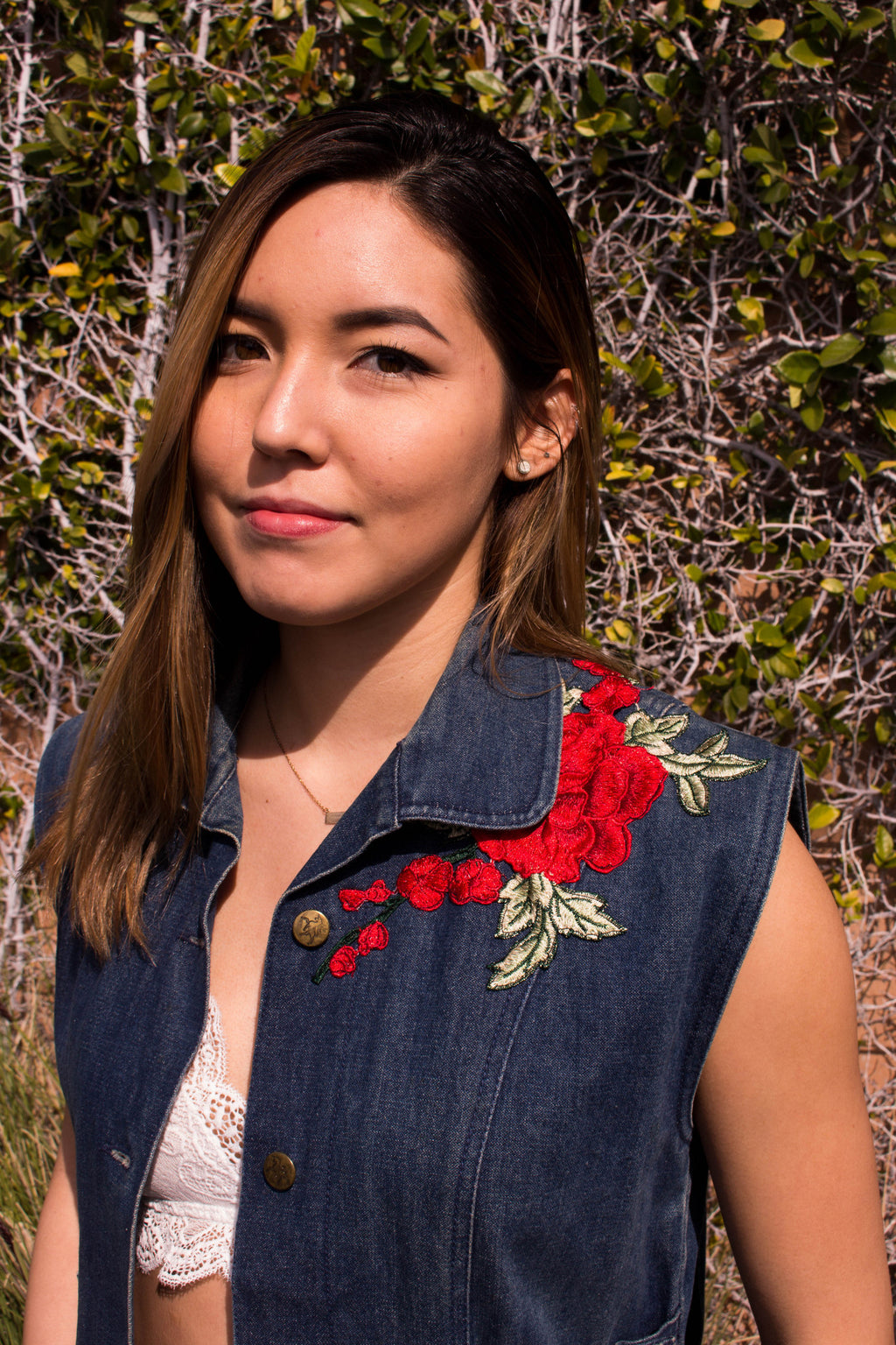 Rose Embroidery Denim Vest