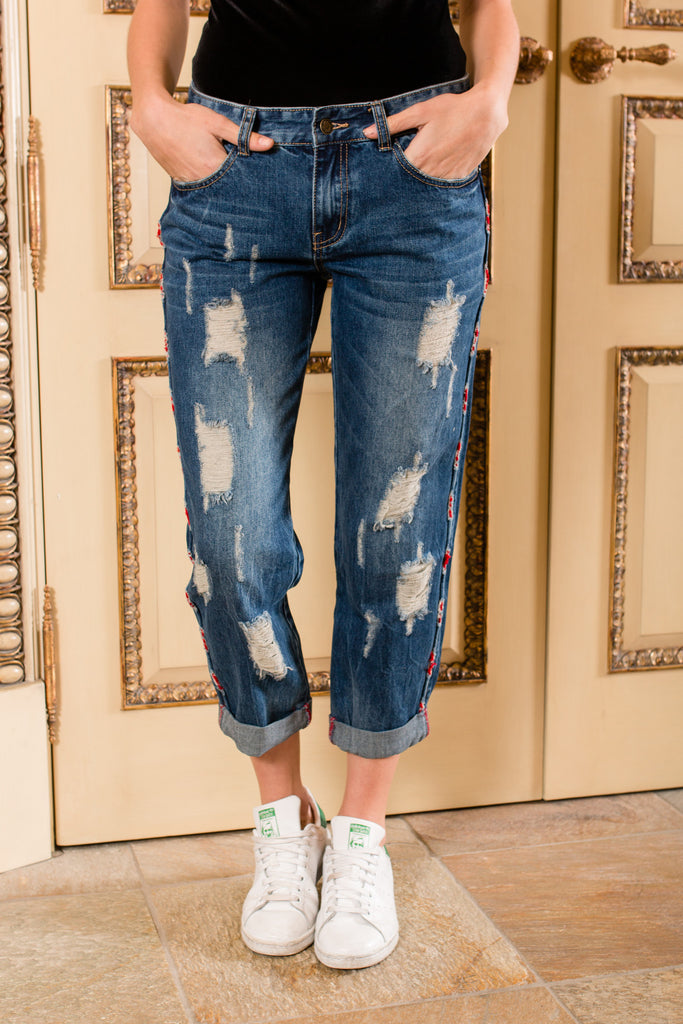 """Red Handed"" Distressed Jeans"