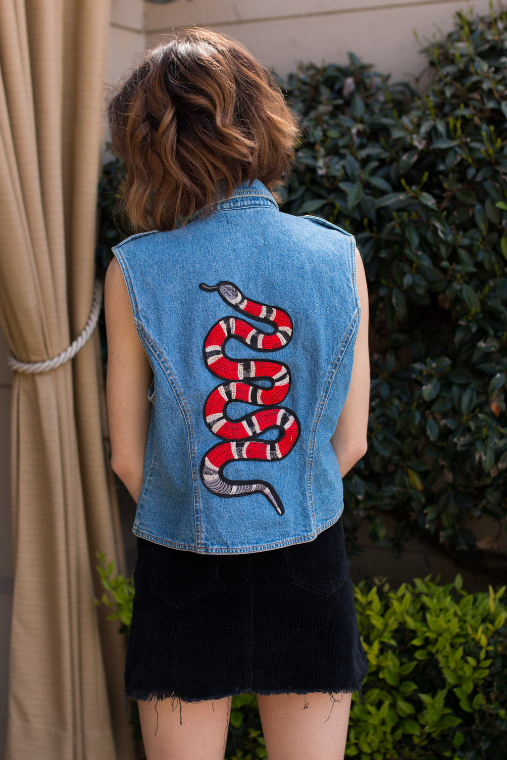 Roses & Snakes Patched Denim Vest