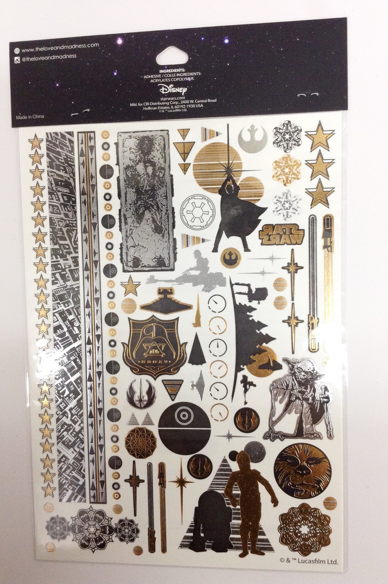 Star Wars Gold & Black Temporary Tattoos - Shop Lost Generation  - 2