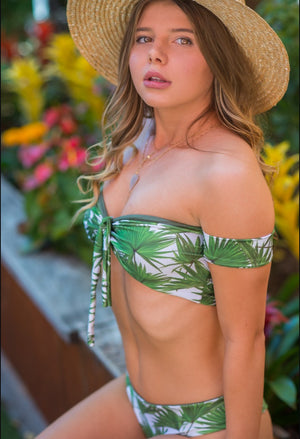 """Lala"" Bikini Top in Palm Print"
