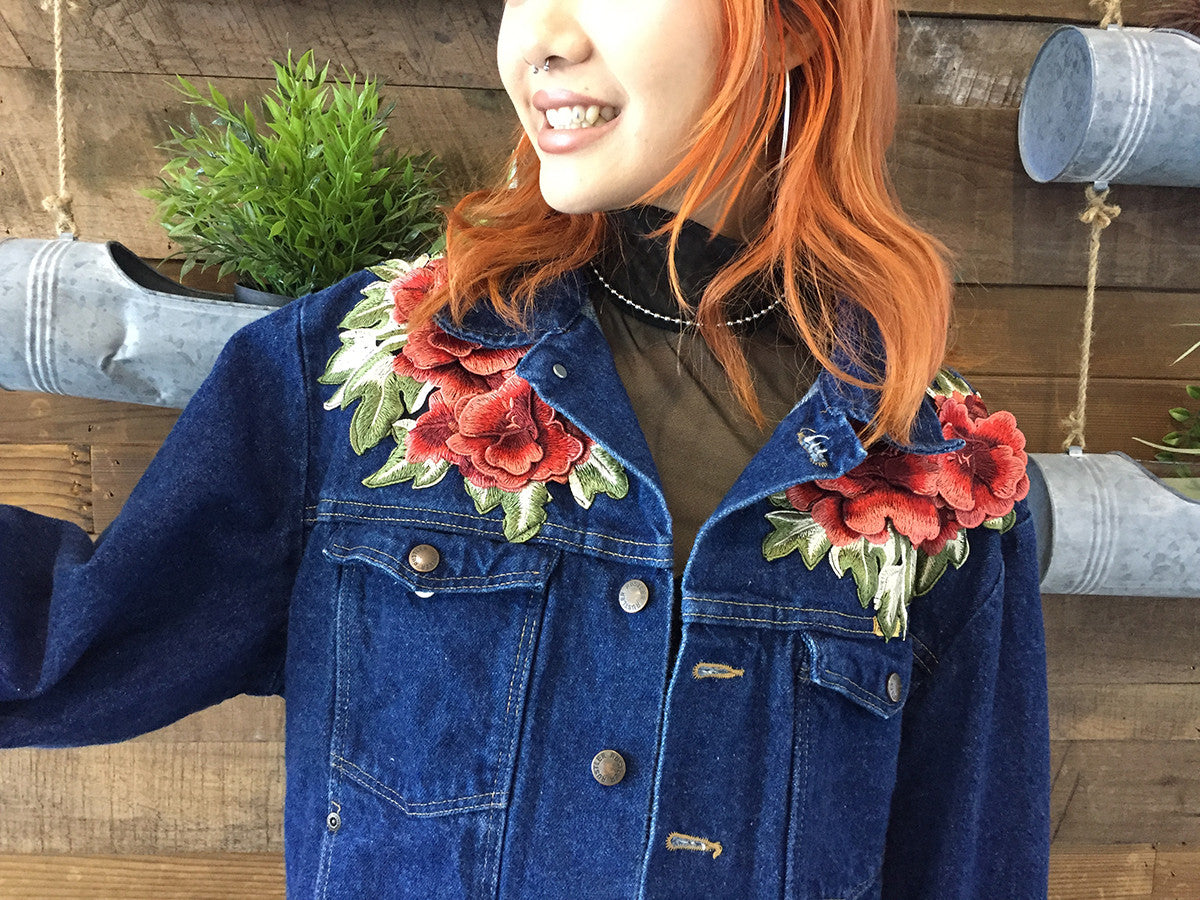 """Rose Bush"" Rework Denim Jacket"