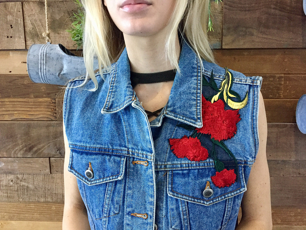 Rose Denim Vest