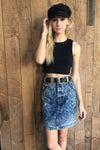 Acid Wash Vintage Denim Skirt
