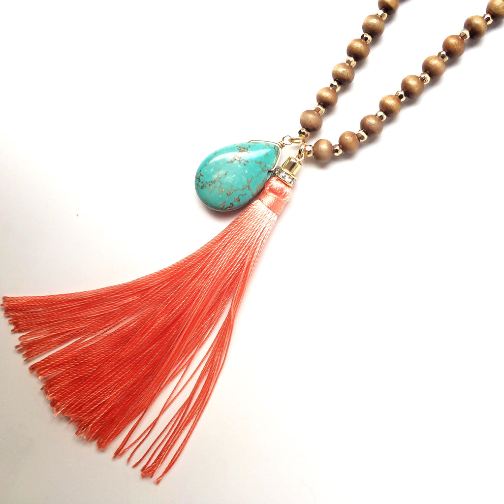 Coral & Turquoise Tassel Necklace - Shop Lost Generation  - 2