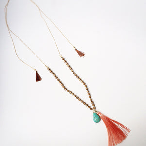 Coral & Turquoise Tassel Necklace - Shop Lost Generation  - 3