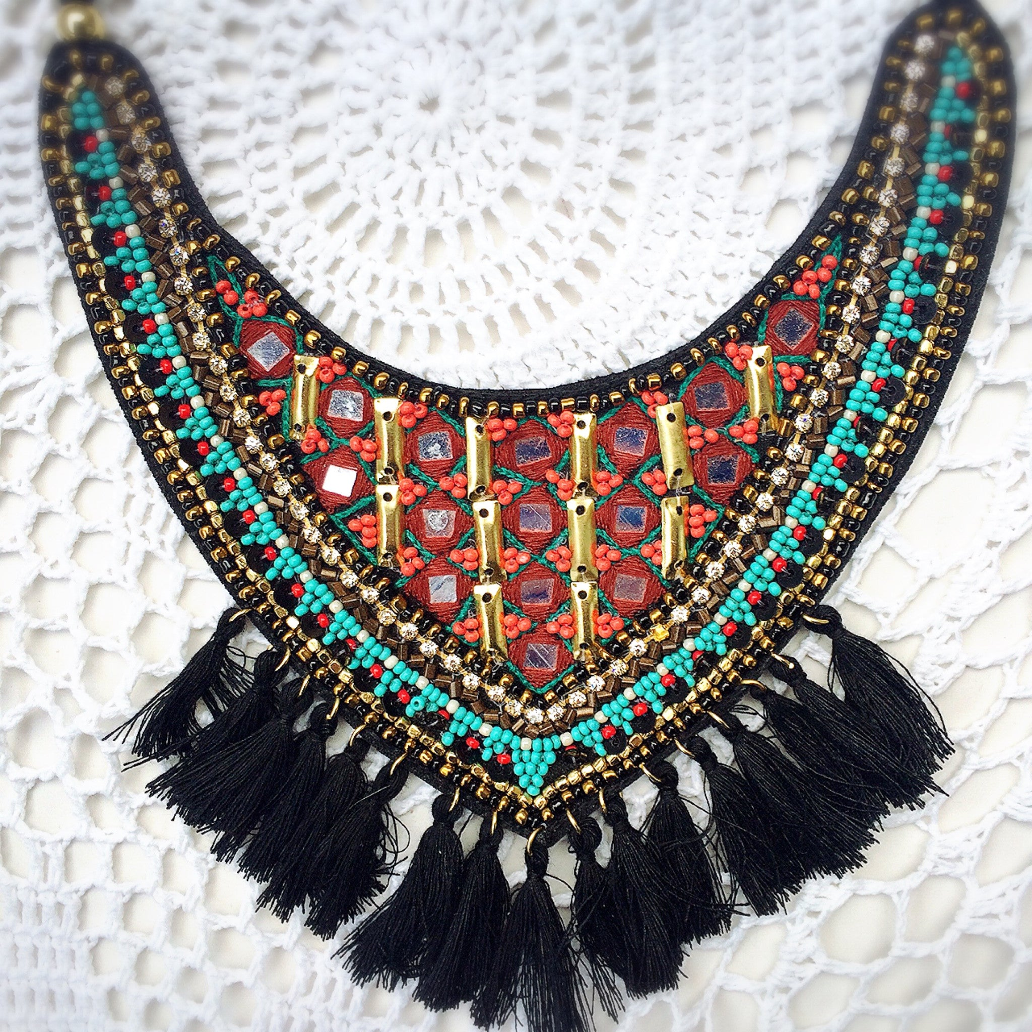 Beaded Bib Necklace - Shop Lost Generation  - 2
