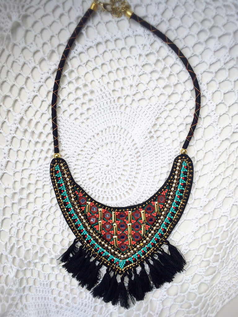 Beaded Bib Necklace - Shop Lost Generation  - 4