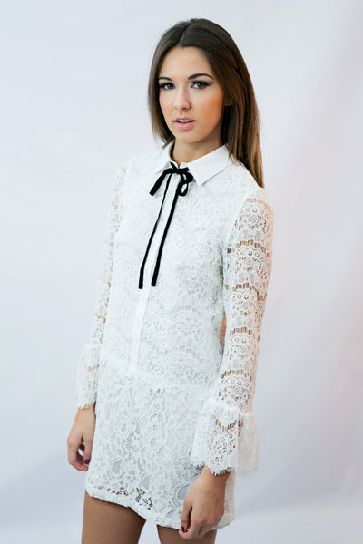 """Victoria"" White Lace Drop Waist Dress - Shop Lost Generation  - 1"