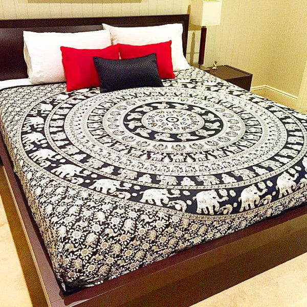Mandala Blanket- Black and White Elephants - Shop Lost Generation  - 2