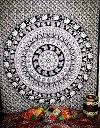 Mandala Blanket- Black and White Elephants - Shop Lost Generation  - 1
