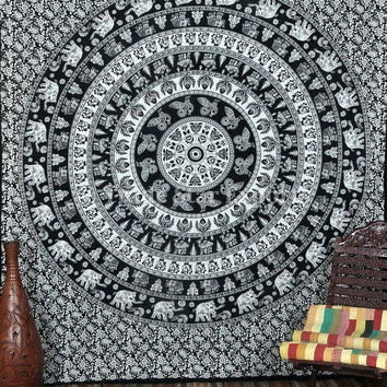 Mandala Blanket- Black and White Elephants - Shop Lost Generation  - 4