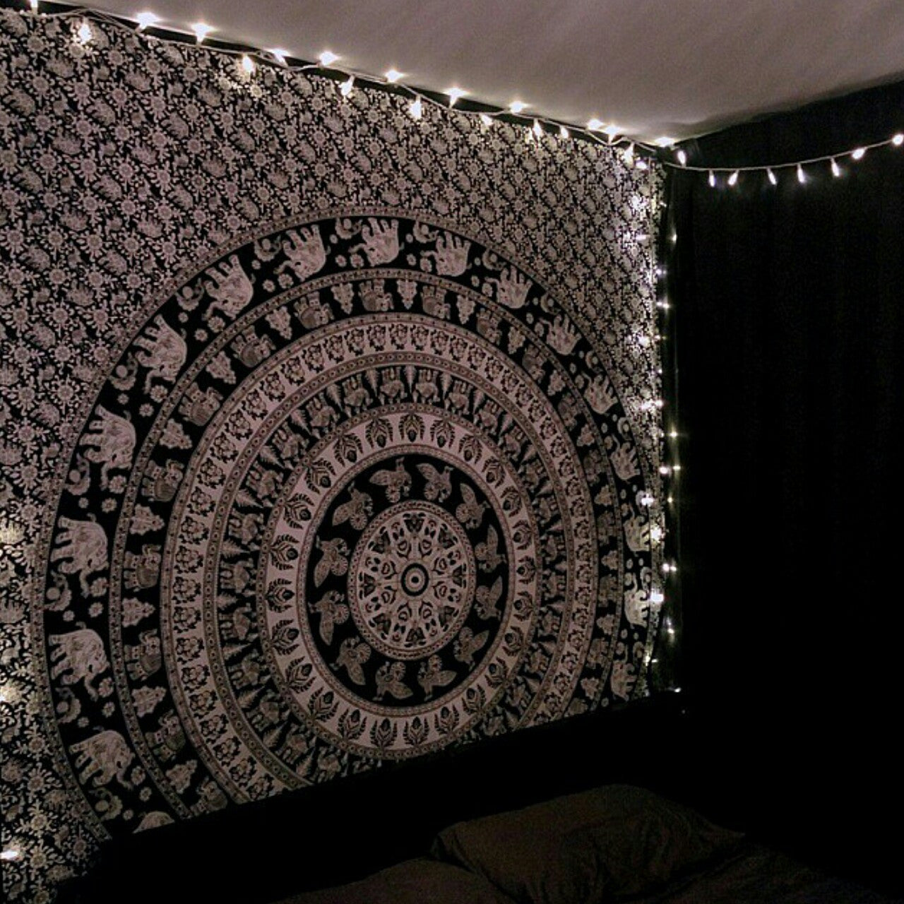 Mandala Blanket- Black and White Elephants - Shop Lost Generation  - 3