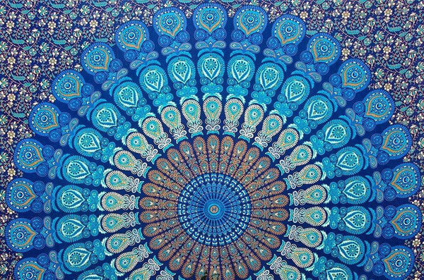 Mandala Blanket- Blue and Green Paisley - Shop Lost Generation  - 2