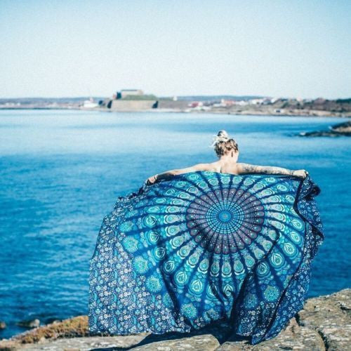 Mandala Blanket- Blue and Green Paisley - Shop Lost Generation  - 1