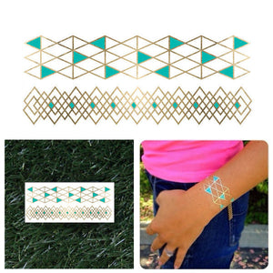 Metallic Tattoo Bracelets- Gold/Teal (1 sheet) - Shop Lost Generation