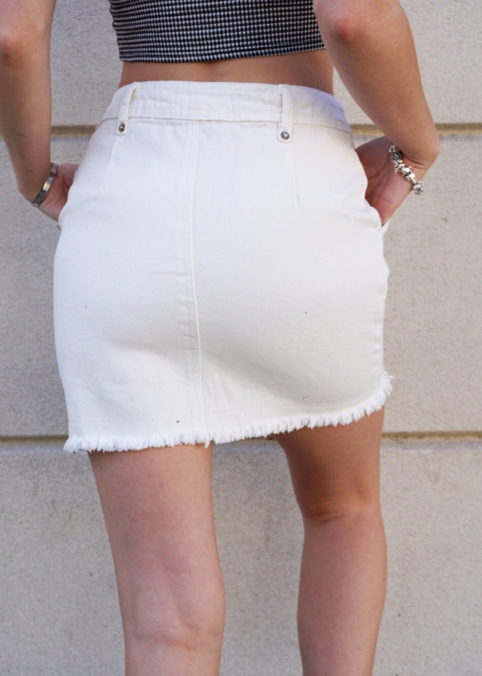 """White Noise"" Denim Skirt"