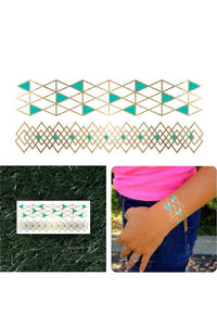Metallic Tattoo Bracelets- Gold/Teal (1 sheet)