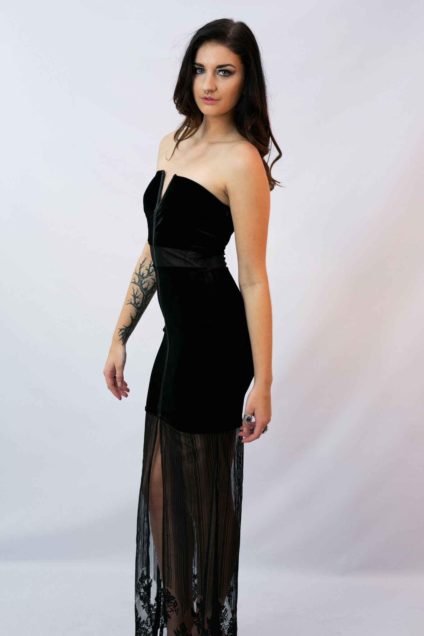 """Morticia"" Dress- Black Velvet - Shop Lost Generation  - 1"