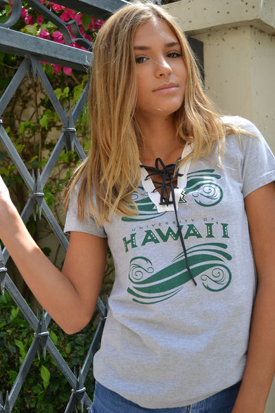 """Hawaii Lace Up"" Reworked Vintage Tee"