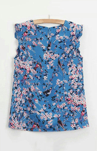 O-Neck Floral Tank Top - 2 colors