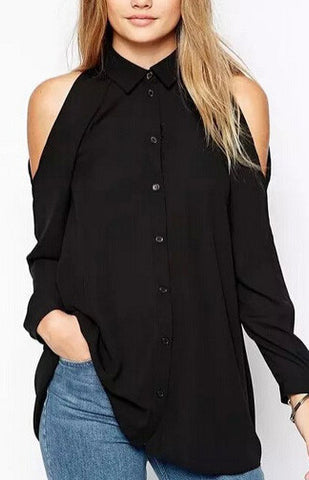 Casual Long Blouse with Uncovered Shoulders