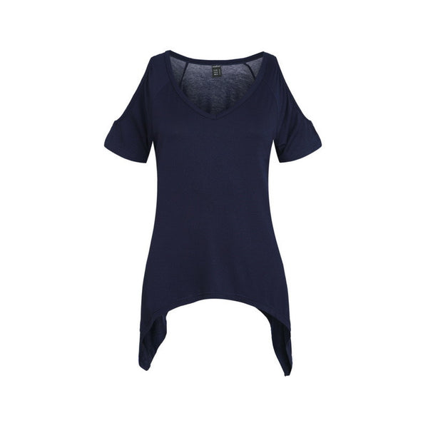 Trendy-Road-Style-Shop-Online-Woman-Fashion-Street-top-t-shirt-off-shoulder-short-sleeve-v-neck-navy-blue