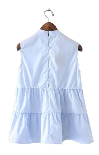Trendy-Road-Style-Shop-Online-Woman-Fashion-Street-blouse-oneck-ruffles-sleeveless-skyblue