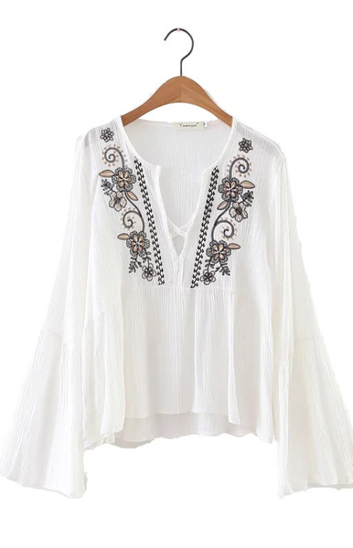 Trendy-Road-Style-Shop-Online-Woman-Fashion-Street-blouse-embroidery-floral-vneck-white