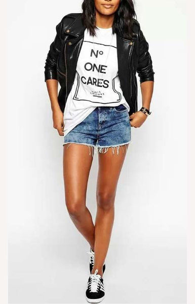 Cute T-Shirt With Short Sleeve and Letters Print
