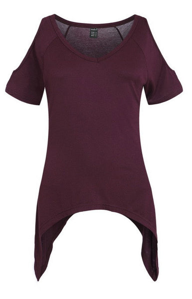 Trendy-Road-Style-Shop-Online-Woman-Fashion-Street-top-t-shirt-off-shoulder-short-sleeve-v-neck-red-wine
