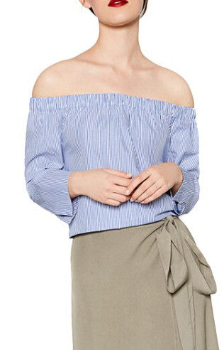 Helena, Striped Shirt With Bare Shoulders