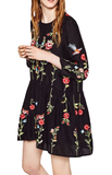 Clara, Boho Floral Embroidered Dress