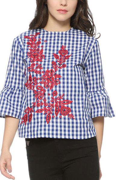 Trendy-Road-Shop-Online-Woman-Fashion-Style-Blouse-Plaid-Embroidery