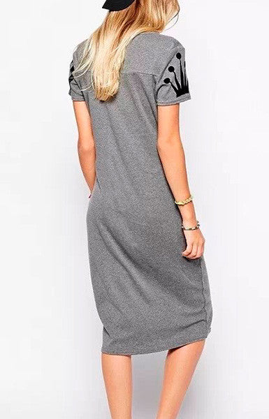 Trendy-Road-Style-Shop-Online-Woman-Fashion-Street-Dress-shortsleeve-basic-slim-oneck-letters-print-lightgray