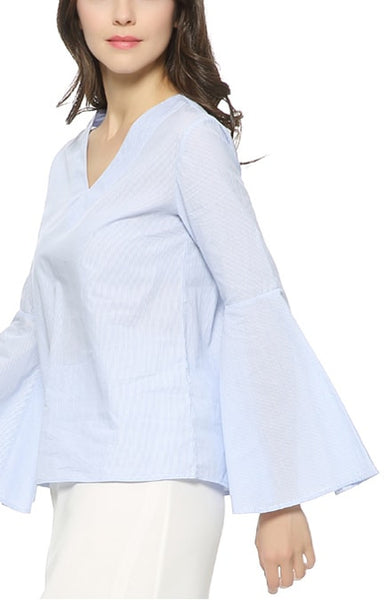 Trendy-Road-Style-Shop-Online-Woman-Fashion-Street-blouse-blue-stripes-vneck-flaresleeve