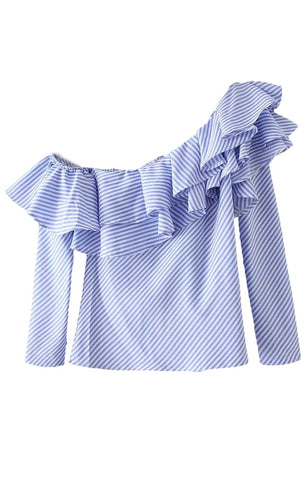 Trendy-Road-Style-Shop-Online-Woman-Fashion-Street-blouse-white-blue-offshoulder-stripes-ruffles