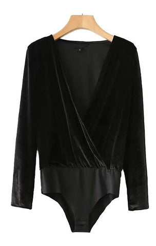 Trendy-Road-Style-Shop-Online-Woman-Fashion-Street-bodysuit-body-black-velvet-vneck-longsleeve