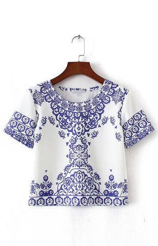 Trendy-Road-Style-Shop-Online-Woman-Fashion-Street-crop-top-tshirt-short-sleeve-oneck-porcelain-pattern-blue-white