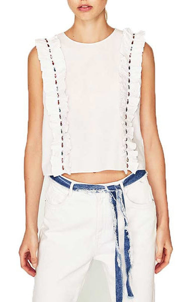 Trendy-Road-Style-Shop-Online-Woman-Fashion-Street-crop-top-white-ruffles-sleeveless-beading-detail