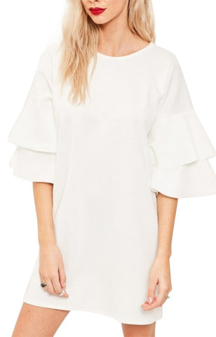 Trendy-Road-Style-Shop-Online-Woman-Fashion-Street-dress-butterfly-sleeve-solid-polyester-oneck-ruffles-white