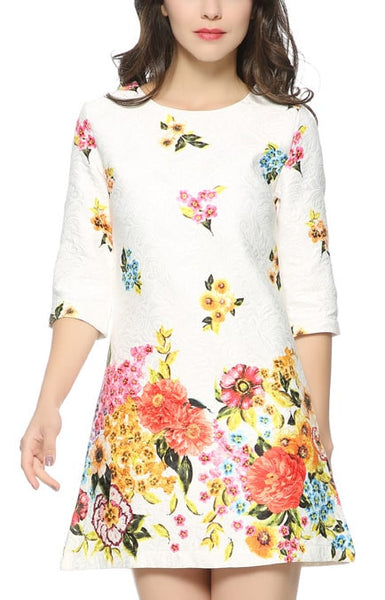 Trendy-Road-Style-Shop-Online-Woman-Fashion-Street-dress-mini-white-colorful-three-quarter-sleeve-o-neck-print-flower