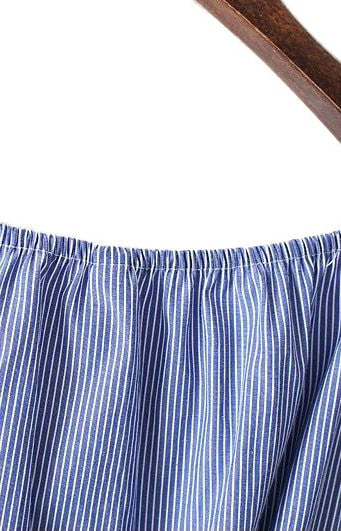 Trendy-Road-Style-Shop-Online-Woman-Fashion-Street-dress-striped-blue-off-shoulder-backless-short-sleeve-tie-cotton